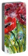 Red Anemone Flowers Portable Battery Charger