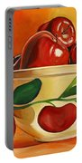 Red Apples In Vintage Watt Yellowware Bowl Portable Battery Charger