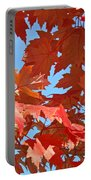 Red Autumn Leaves Fall Colors Art Prints Baslee Troutman Portable Battery Charger