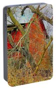 Red Barn Behind The Trees Portable Battery Charger