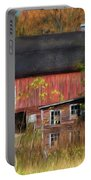 Red Barn In October Portable Battery Charger