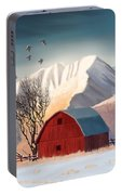 Red Barn Snow Western - Countryside Painting Portable Battery Charger