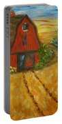Red Barn- Wheat Field- Down Home Portable Battery Charger