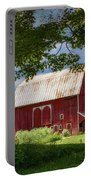 Red Barn With White Arched Door Trim Portable Battery Charger
