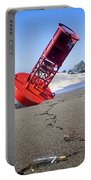 Red Bell Buoy On Beach With Bottle Portable Battery Charger