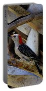 Red-bellied Woodpecker Hides On A Cabbage Palm Portable Battery Charger