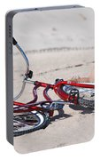 Red Bike On The Beach Portable Battery Charger