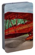 Red Biplane Portable Battery Charger by Megan Cohen