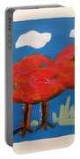 Red Bird In Grass Portable Battery Charger