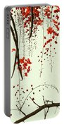Red Blossom Tree On Handmade Paper Portable Battery Charger