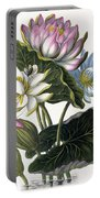 Red, Blue, And White Lotus Flowers Portable Battery Charger