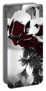 Red Bow In Snow Portable Battery Charger