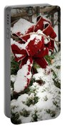Red Bow On Pine Bough Portable Battery Charger