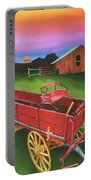 Red Buckboard Wagon Portable Battery Charger