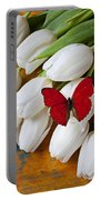 Red Butterfly On White Tulips Portable Battery Charger by Garry Gay