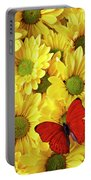 Red Butterfly On Yellow Mums Portable Battery Charger