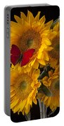 Red Butterfly With Four Sunflowers Portable Battery Charger