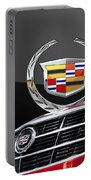Red Cadillac C T S - Front Grill Ornament And 3d Badge On Black Portable Battery Charger