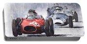 Red Car Ferrari D426 1958 Monza Phill Hill Portable Battery Charger