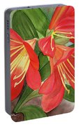 Red Clivias - Watercolor Portable Battery Charger