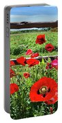 Red Corn Poppies At The Fence Portable Battery Charger