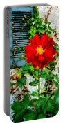 Red Dahlia By Window Portable Battery Charger