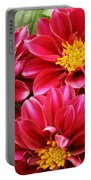 Red Dahlias Portable Battery Charger