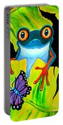 Red Eyed Tree Frog And Purple Butterfly Portable Battery Charger