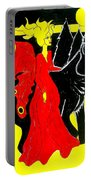 Red Faerie And Black Wolf With Yellow Moon Portable Battery Charger