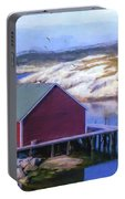 Red Fishing Shed On The Cove Portable Battery Charger