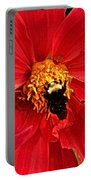 Red Flower And Bee Portable Battery Charger