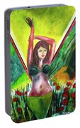 Red Flowers And The Girl In Green Portable Battery Charger
