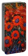 Red Flowers In The Night Portable Battery Charger