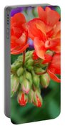 Red Fresh Geraniums Portable Battery Charger