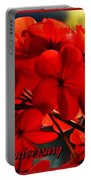 Red Geranium Anniversary Greeting Portable Battery Charger