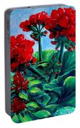 Red Geraniums Portable Battery Charger