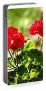 Red Geraniums Triptych Portable Battery Charger