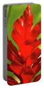 Red Ginger Bud After Rainfall Portable Battery Charger