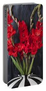 Red Gladiolus In Striped Vase Portable Battery Charger
