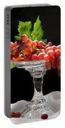 Red Grapes On Glass Dish Portable Battery Charger