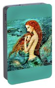 Red Hair Mermaid Mother And Child Portable Battery Charger