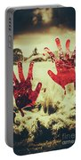 Red Handprints On Glass Of Windows Portable Battery Charger