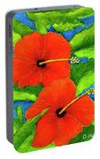 Red Hawaii Hibiscus Flower #267 Portable Battery Charger