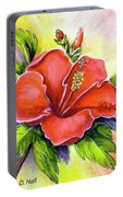 Red Hawaii Hibiscus Flower #301 Portable Battery Charger