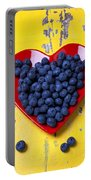 Red Heart Plate With Blueberries Portable Battery Charger