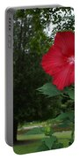 Red Hibiscus Highlights A Scene On The River Portable Battery Charger