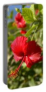 Red Hibiscus Portable Battery Charger