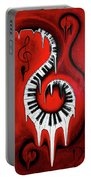 Red Hot - Swirling Piano Keys - Music In Motion Portable Battery Charger
