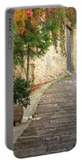 Red Ivy And Steps In Assisi Italy Portable Battery Charger