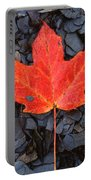 Red Maple Leaf On Black Shale Portable Battery Charger